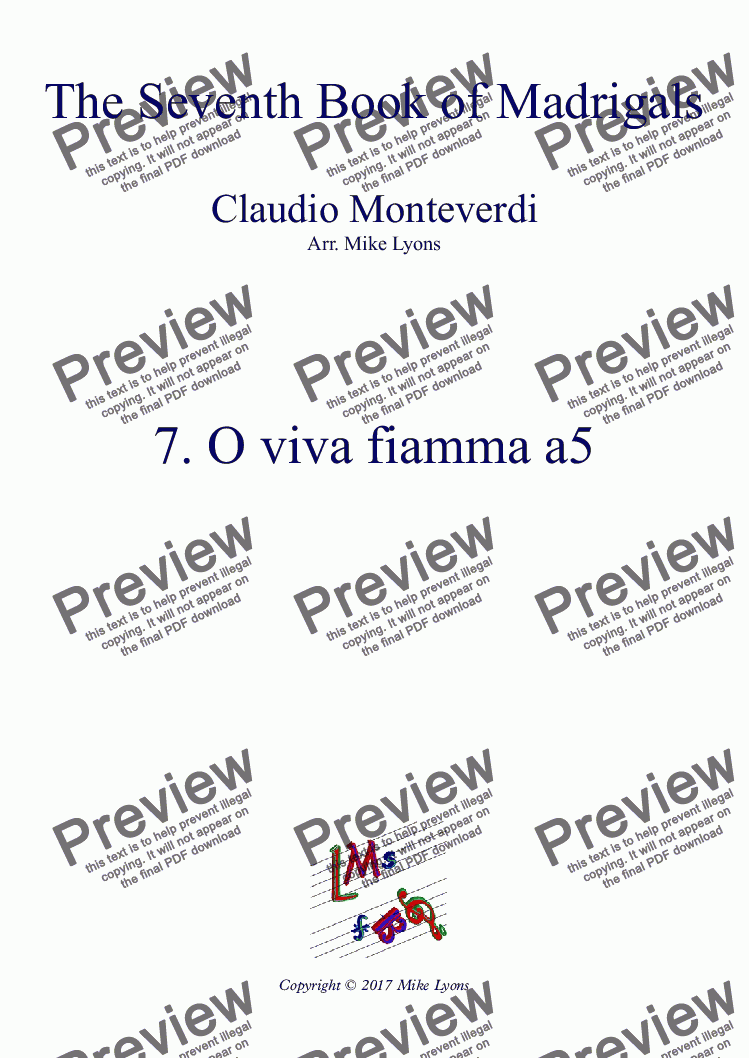 page one of Brass Quintet - Monteverdi Madrigals Book 7 - 07. O Viva Fiamma a5