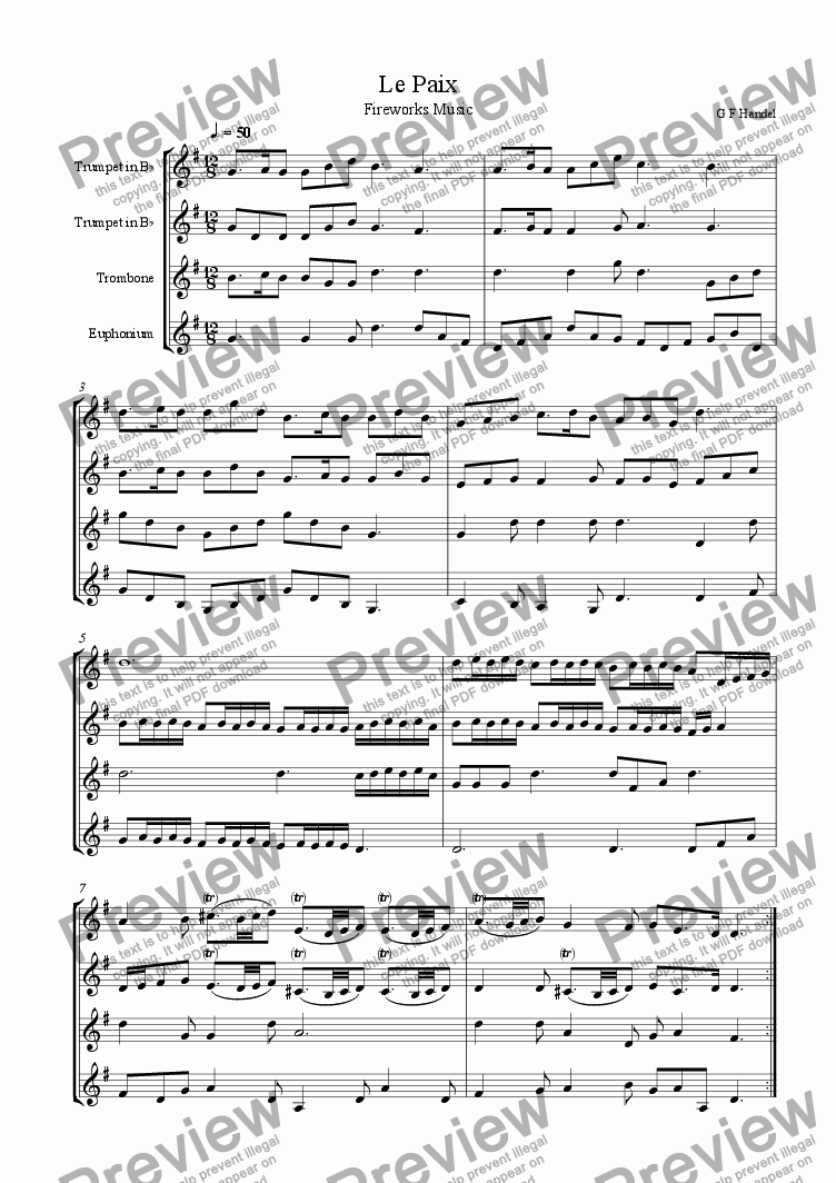page one of Le Paix from Fireworks Music