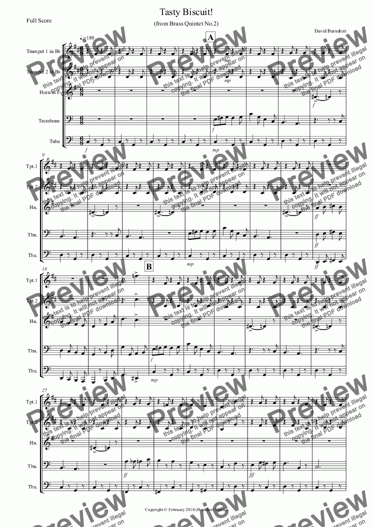 page one of Tasty Biscuit! for Brass Quintet