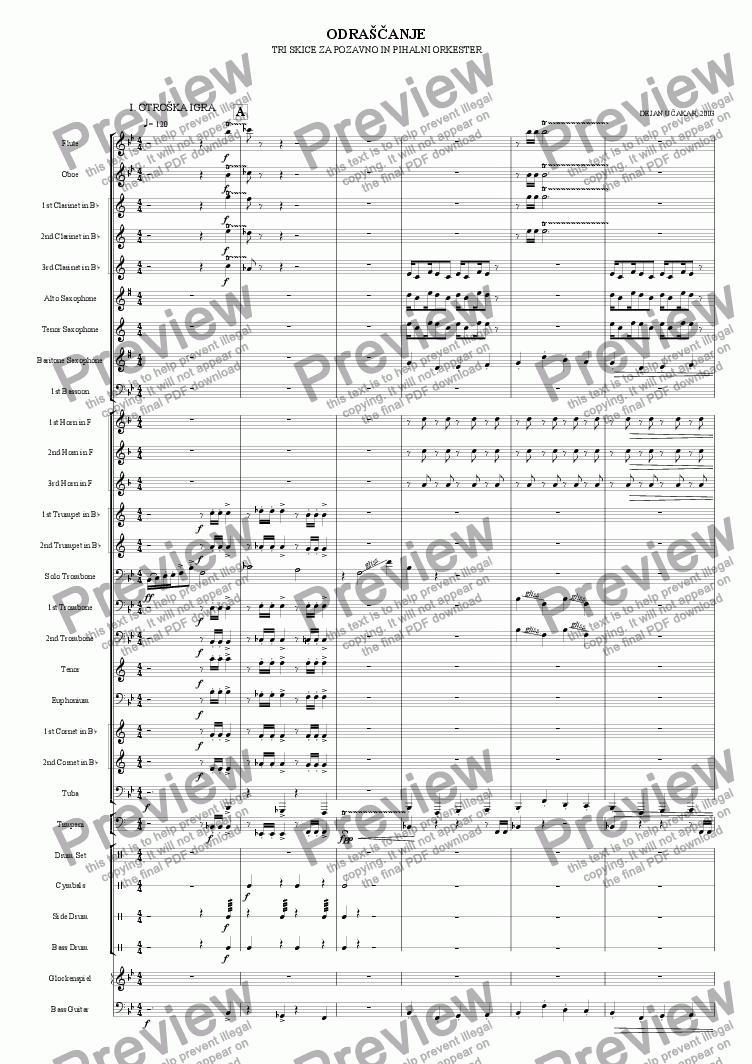 page one of Growing up - Three schetches for trombone and wind orchestra