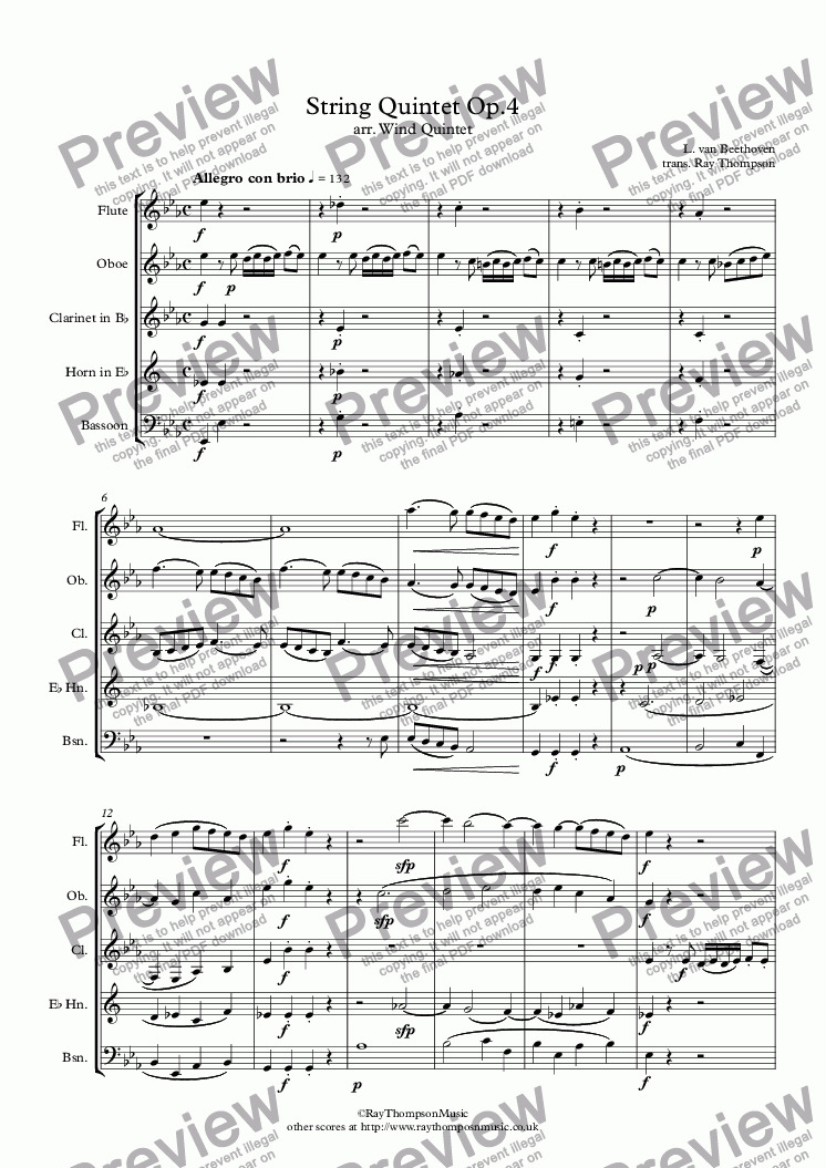 page one of Beethoven: String Quintet Op.4 (adapted from the Octet for wind Op.103) Mvt.I - wind quintet