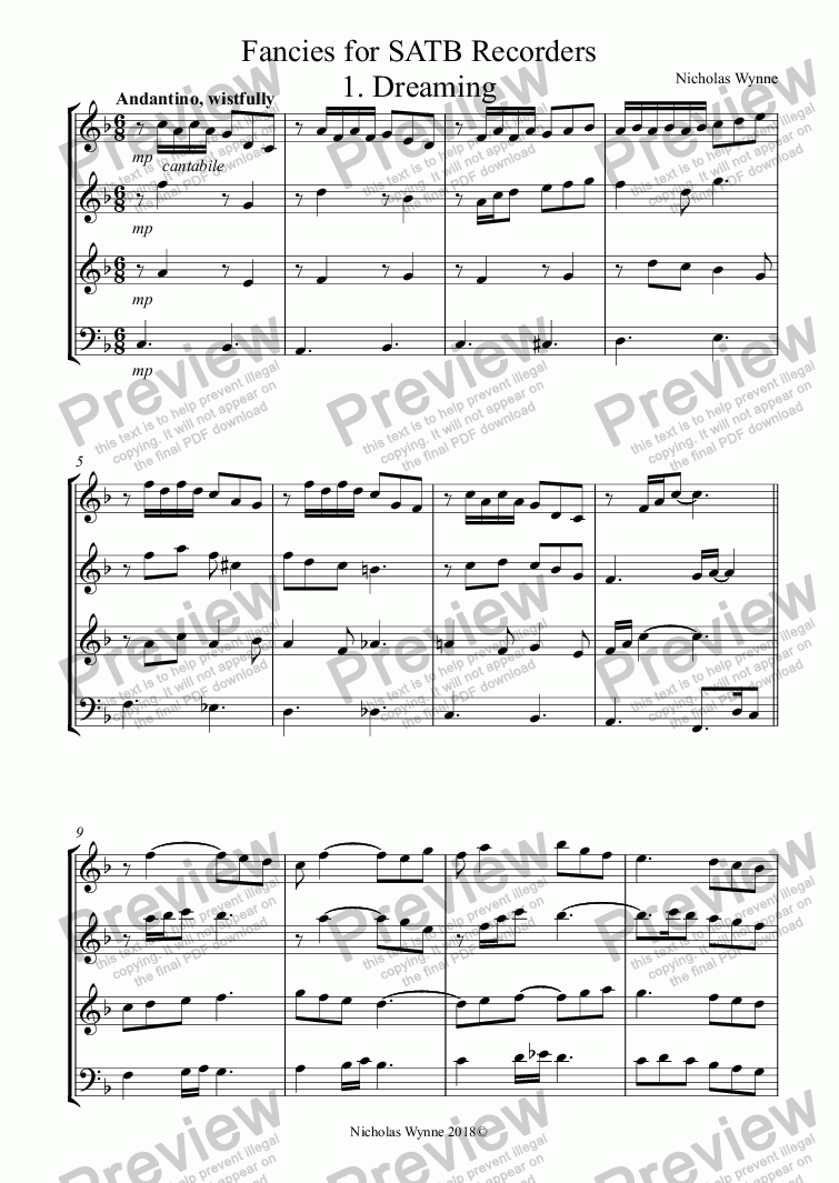 page one of Fancies for SATB Recorders