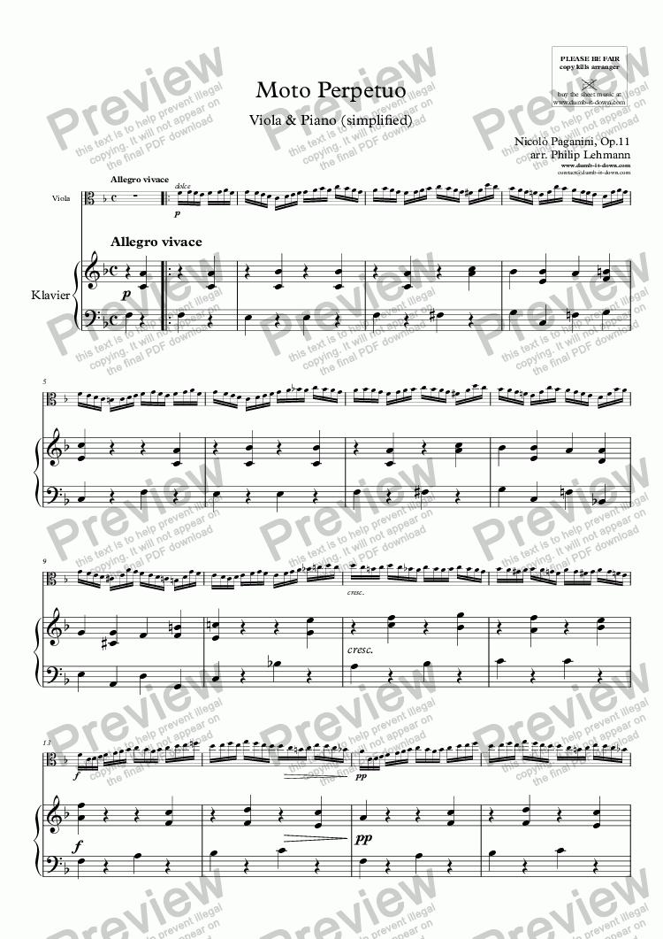 page one of Paganini, N. - Moto Perpetuo, Op.11 - for Viola (orig.) & Piano (simplified)ASALTTEXT