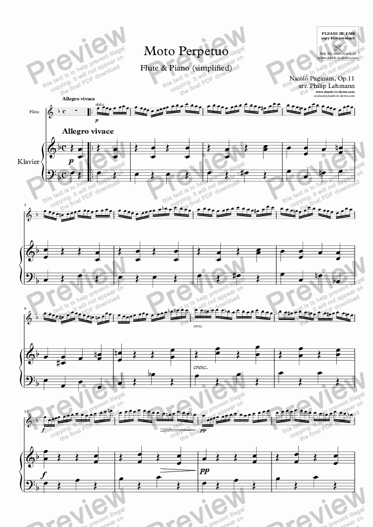 page one of Paganini, N. - Moto Perpetuo, Op.11 - for Flute (orig.) & Piano (simplified)ASALTTEXT