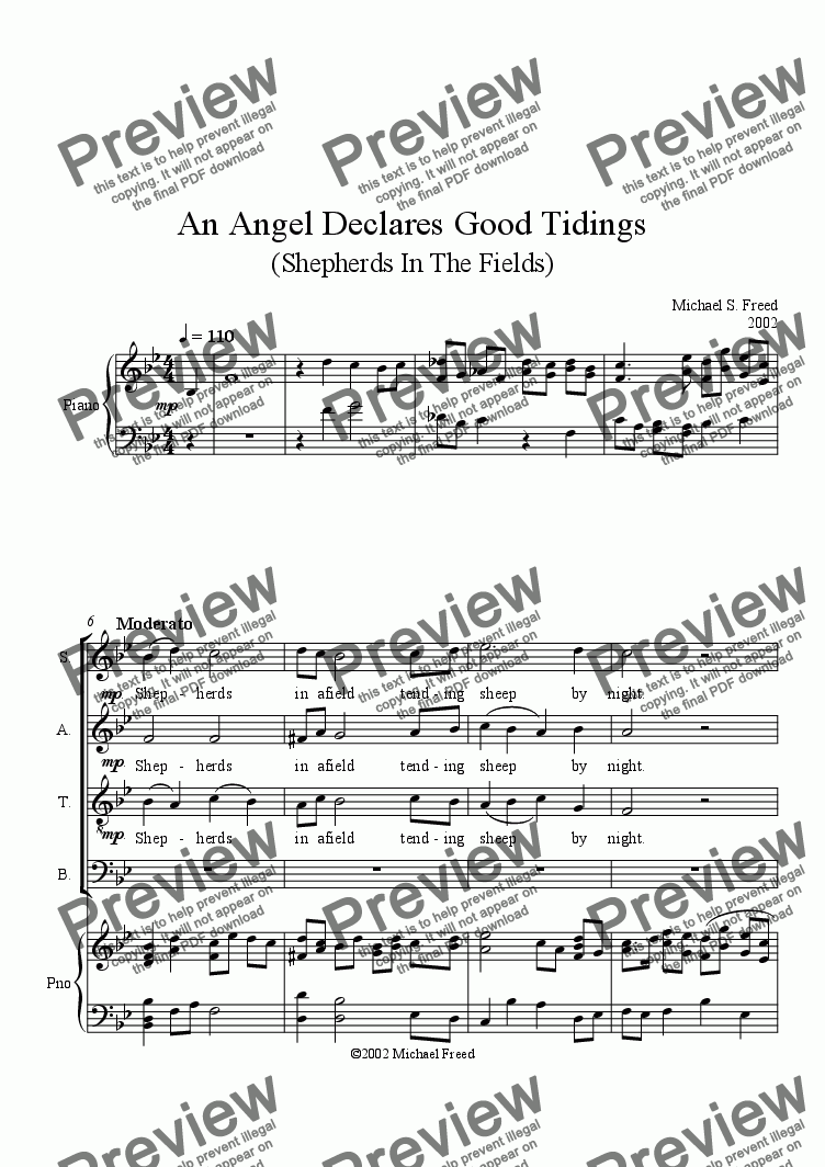 page one of An Angel Declares Good Tidings,  SATB, Piano