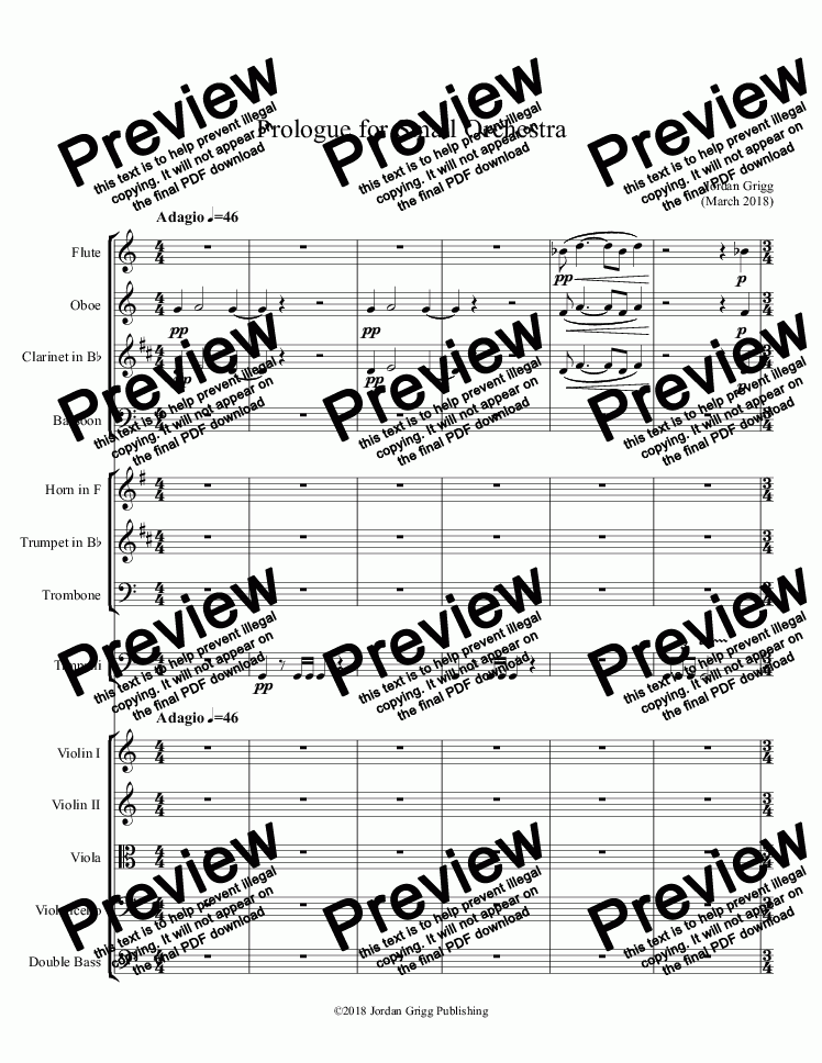 Prologue for Small Orchestra - Score and parts for Orchestra by Jordan  Grigg - Sheet Music PDF file to download