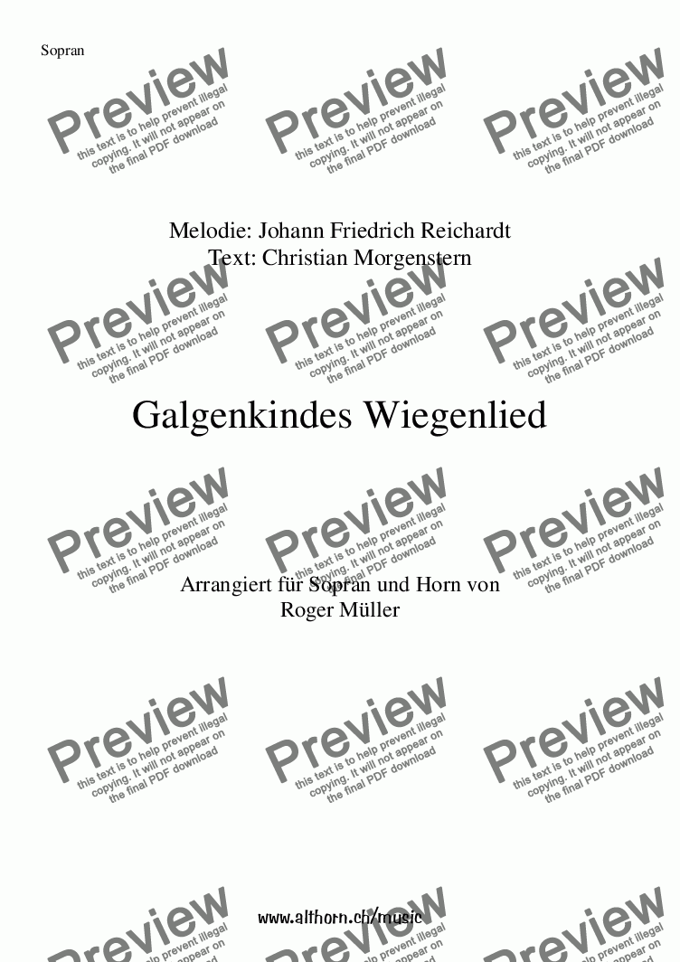 page one of Galgenkindes Wiegenlied (Lullaby)