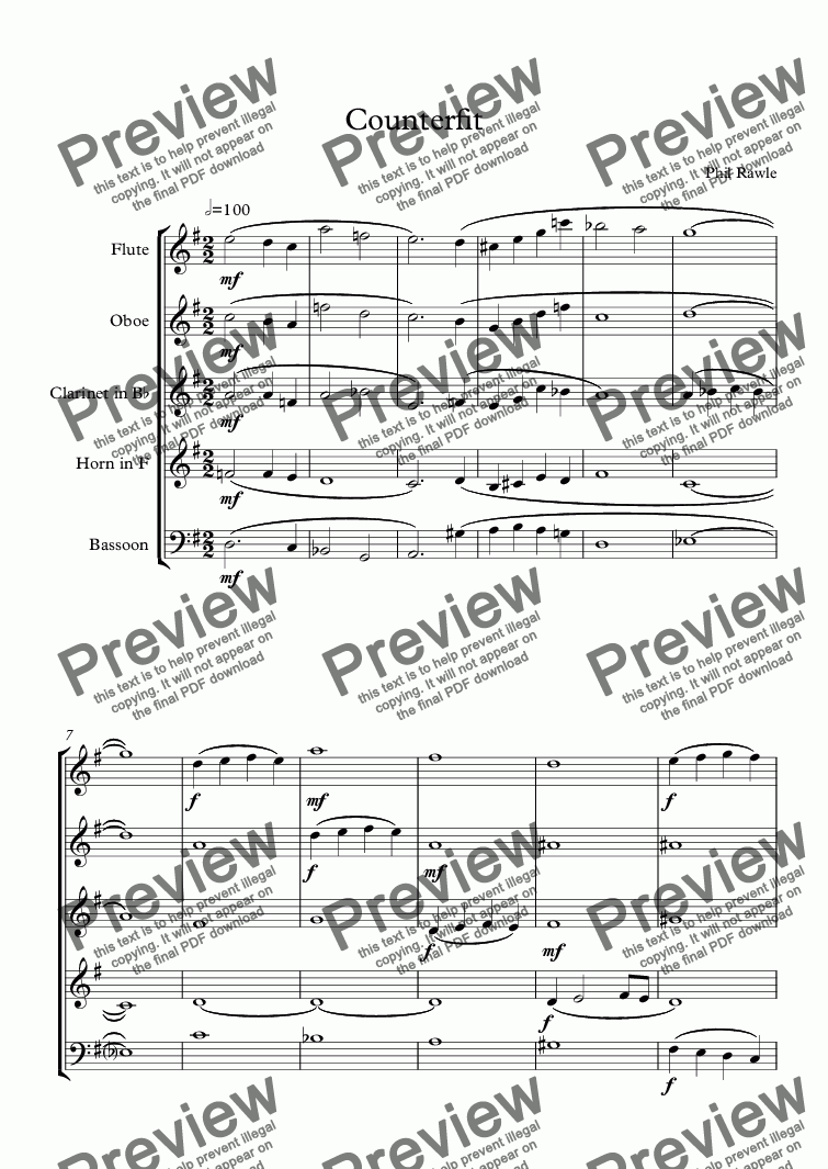 page one of CounterFit - Wind Quintet