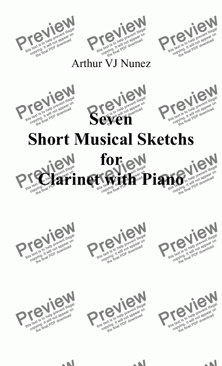 page one of Seven Short Musical Sketchs  for Clarinet with Piano