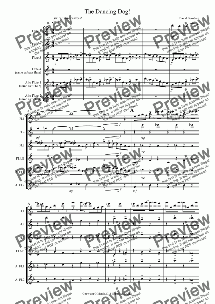 page one of The Dancing Dog! for Flute Quartet