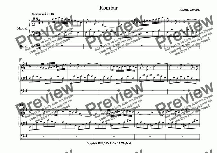 page one of Rombar (Organ)