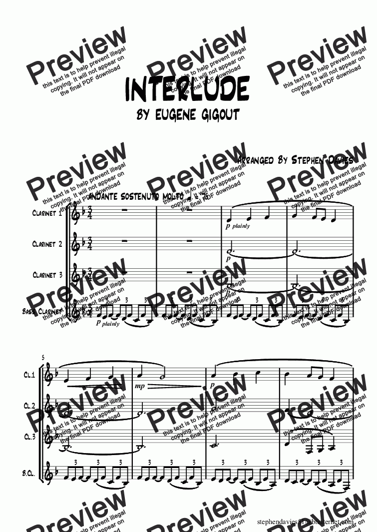 page one of Interlude by Eugene Gigout for Clarinet Quartet.