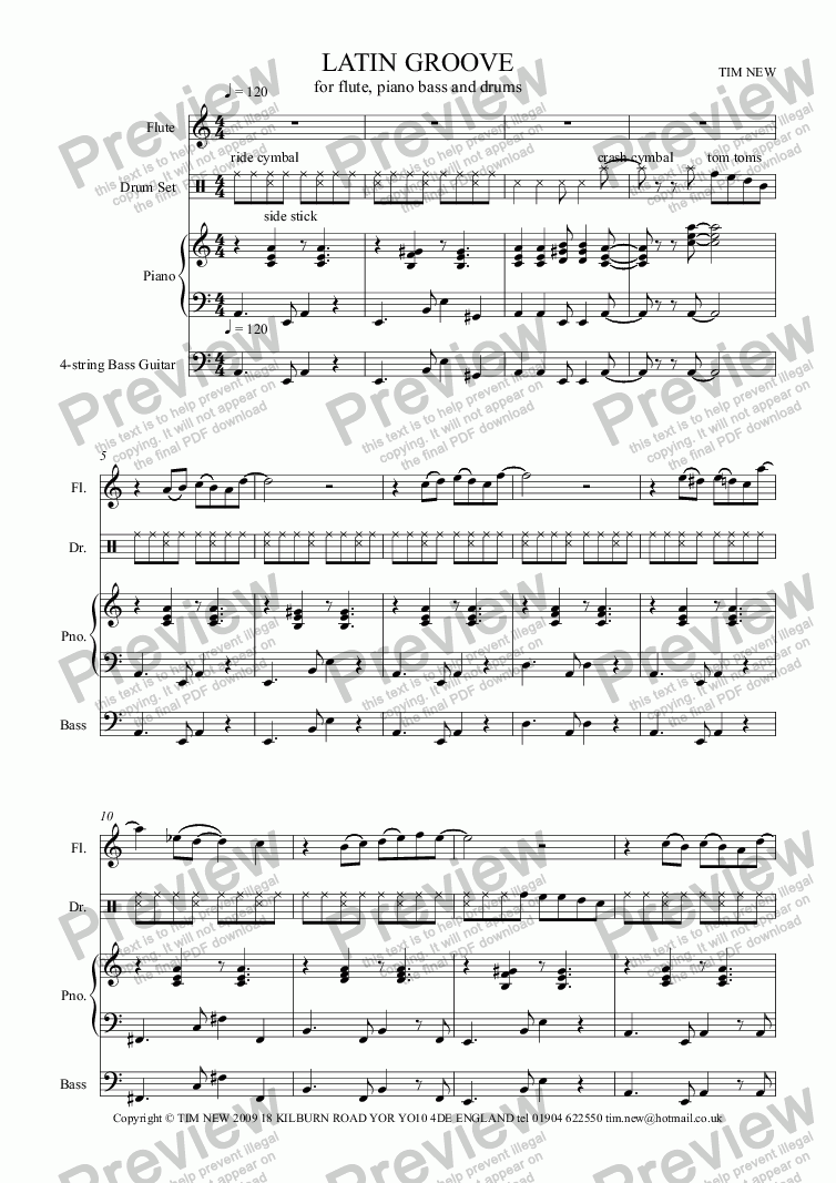 LATIN GROOVE for flute, piano bass and drums for Jazz combo by tim new -  Sheet Music PDF file to download