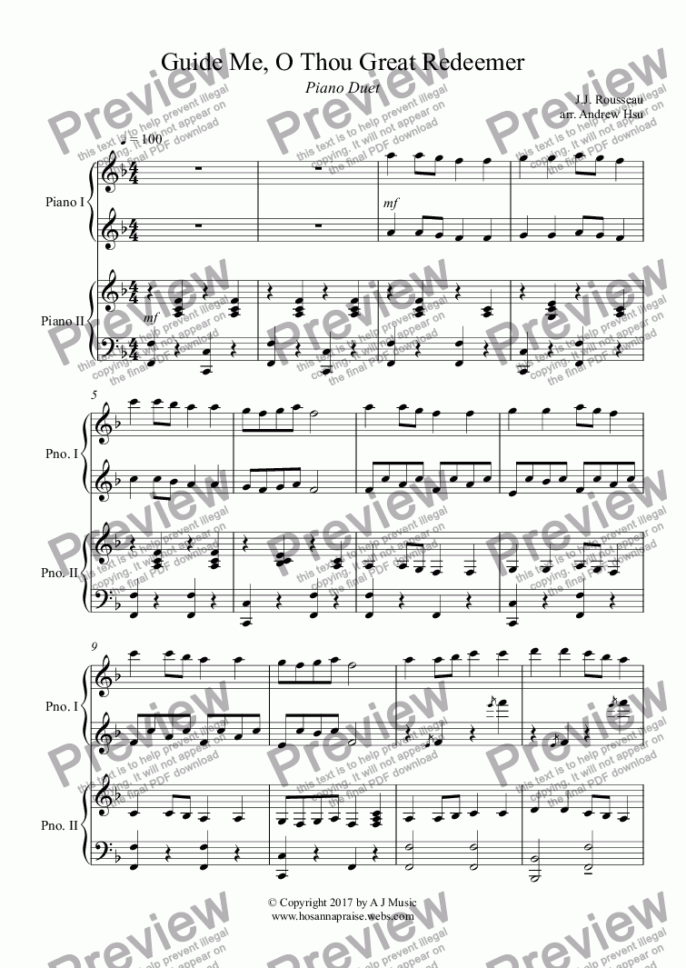 page one of Guide Me, O Thou Great Redeemer - Piano Four Hands