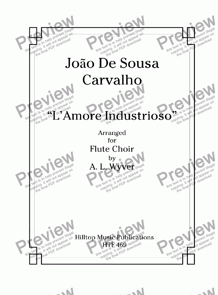"page one of ""L'Amore lndustrioso"" arr. Flute Choir"