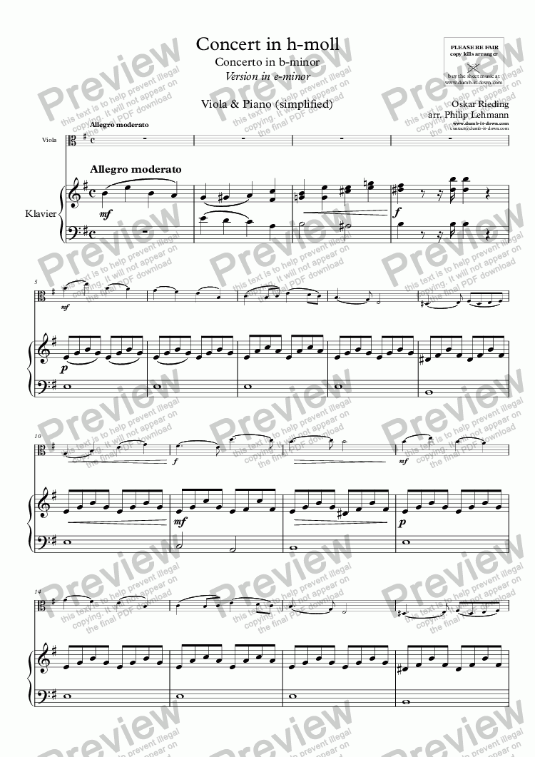 page one of Rieding, O. - Op.35, Concerto in b-minor - Vers. in e-minor for Viola (orig.) & Piano (simplified)