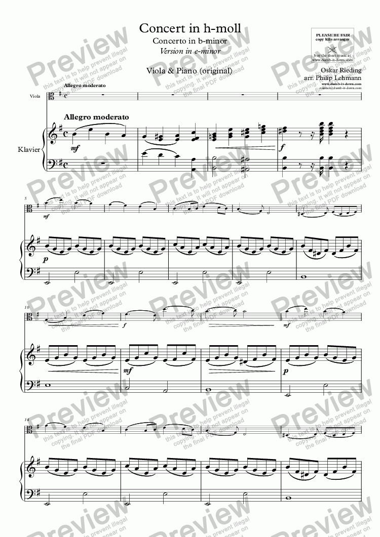 page one of Rieding, O. - Op.35, Concerto in b-minor - Vers. in e-minor for Viola & Piano (orig.)