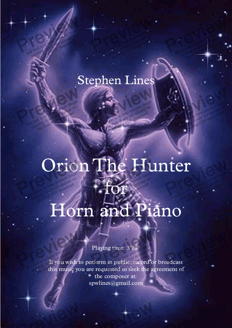 page one of Horn and piano: Orion The Hunter