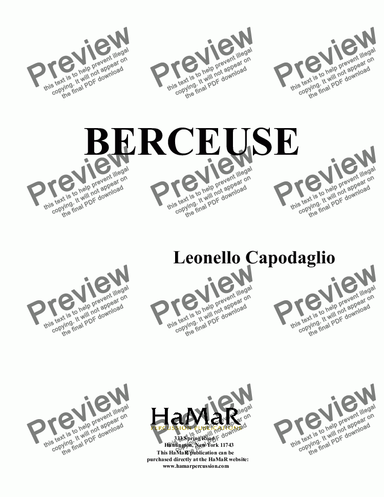 page one of BERCEUSE