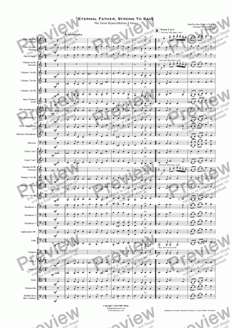 page one of Eternal Father, Strong To Save  -  Concert Band / Orchestra