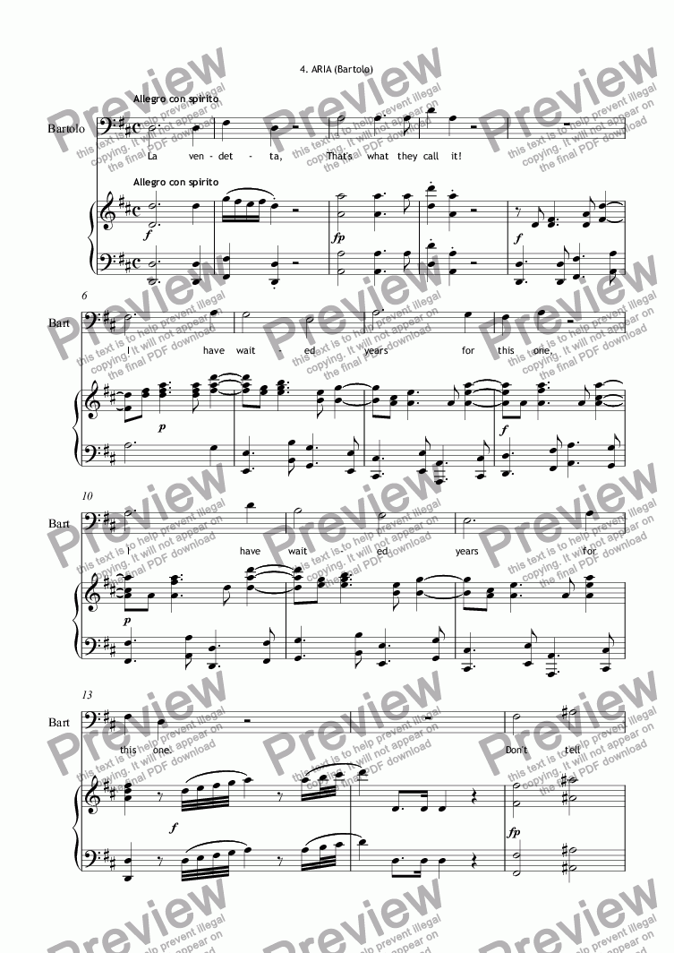 page one of THE MARRIAGE OF FIGARO. English translation with dialogue. No.4 Aria (Bartolo)