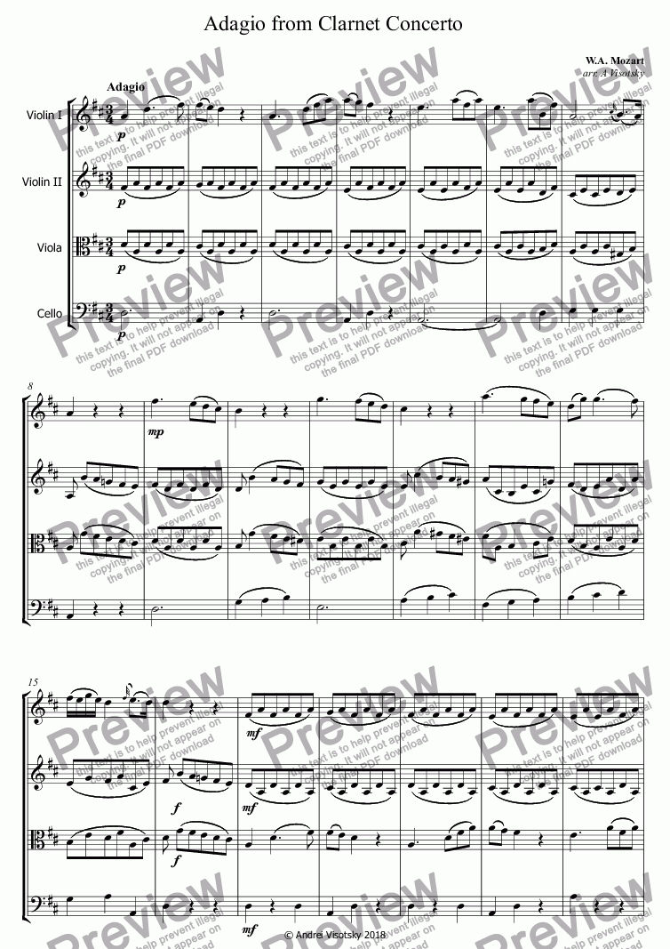 page one of Adagio from Clarnet Concerto
