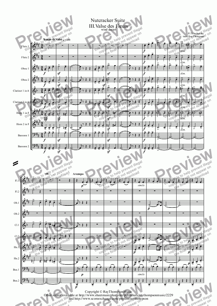page one of Tchaikovsky: Nutcracker Suite  III.Valse des Fleurs - wind dectet