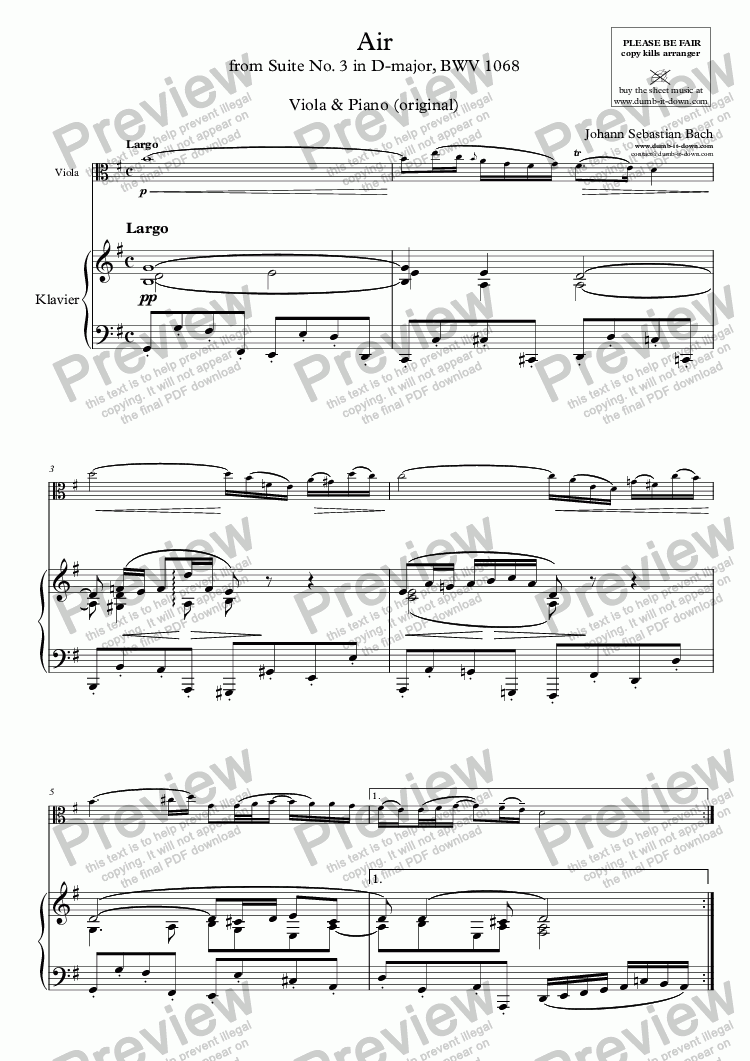 page one of Bach, J.S. - Air (from Suite No. 3 in D), BWV 1068, version in G-major - for Viola & Piano (original)