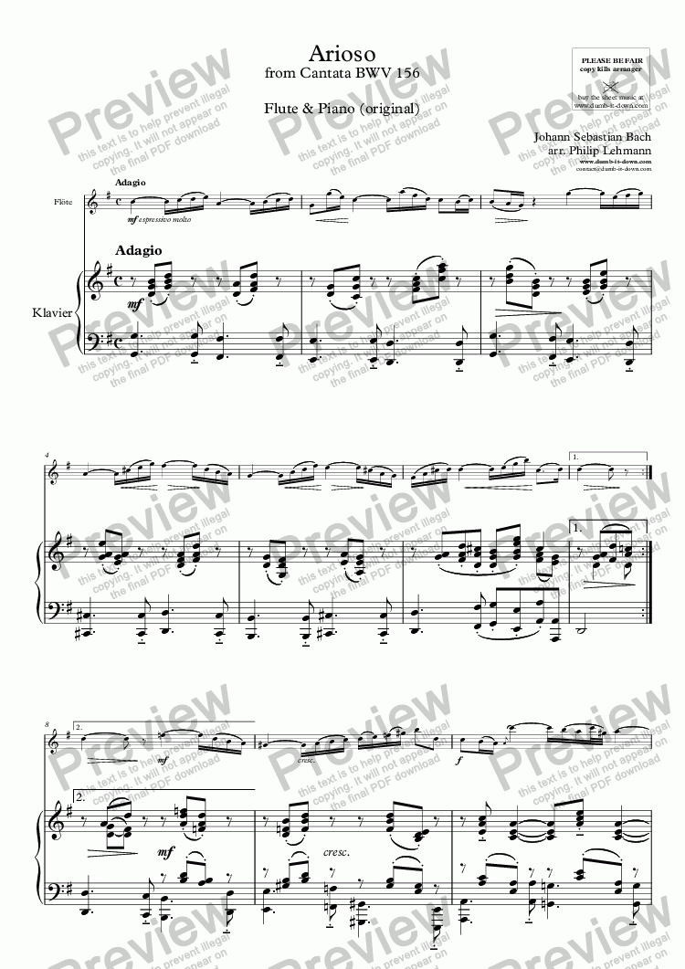 page one of Bach, J.S. - Arioso from Cantata BWV 156 - for Flute & Piano (orig.)