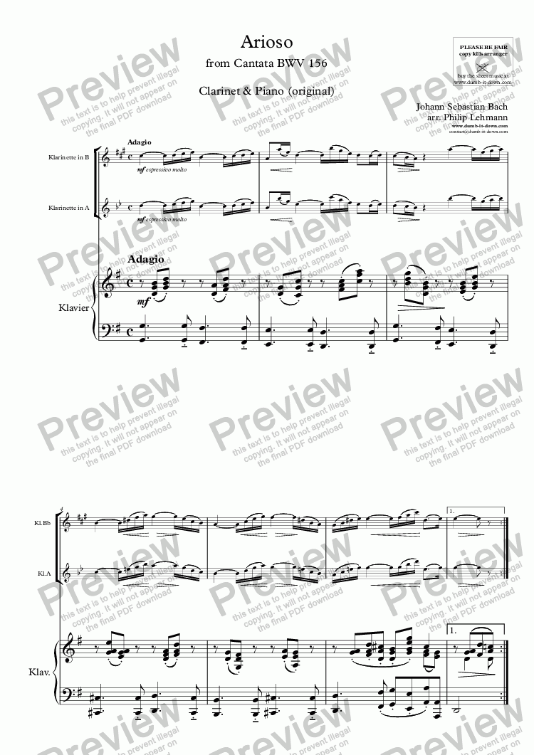 page one of Bach, J.S. - Arioso from Cantata BWV 156 - for Clarinet in Bb or A & Piano (org.)