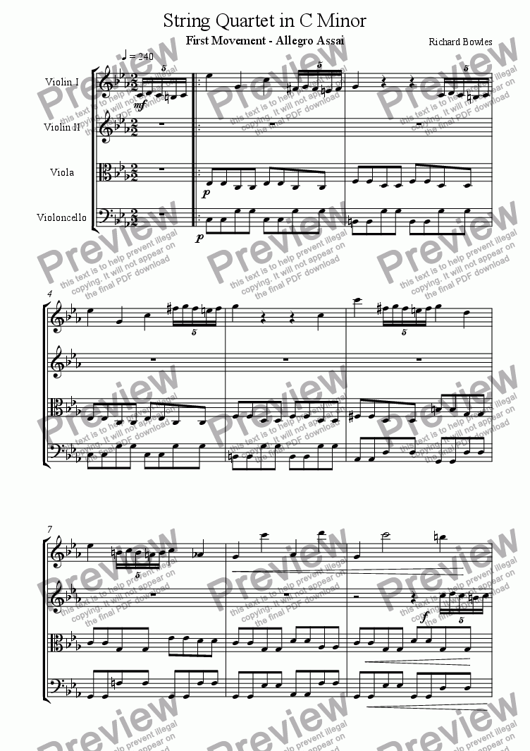 page one of String Quartet in C Minor, First Movement (