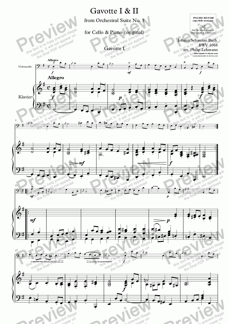 page one of Bach, J.S. - Gavotte I & II from Orch. Suite No.3, BWV 1068 - for Cello & Piano (orig.)