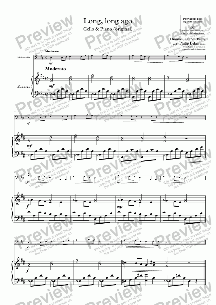 page one of Bayly, T.H.- Long, long ago - for Cello & Piano (orig.)