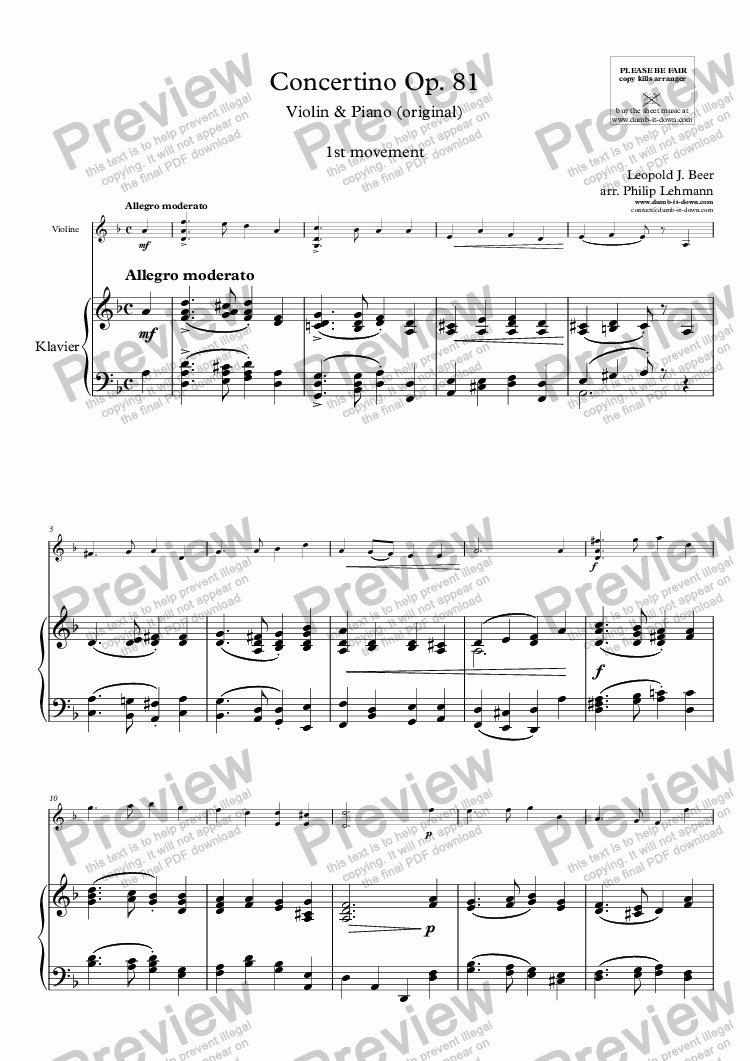 page one of Beer, L.J. - Concertino Op. 81; 1st mov. - for Violin & Piano (orig.)