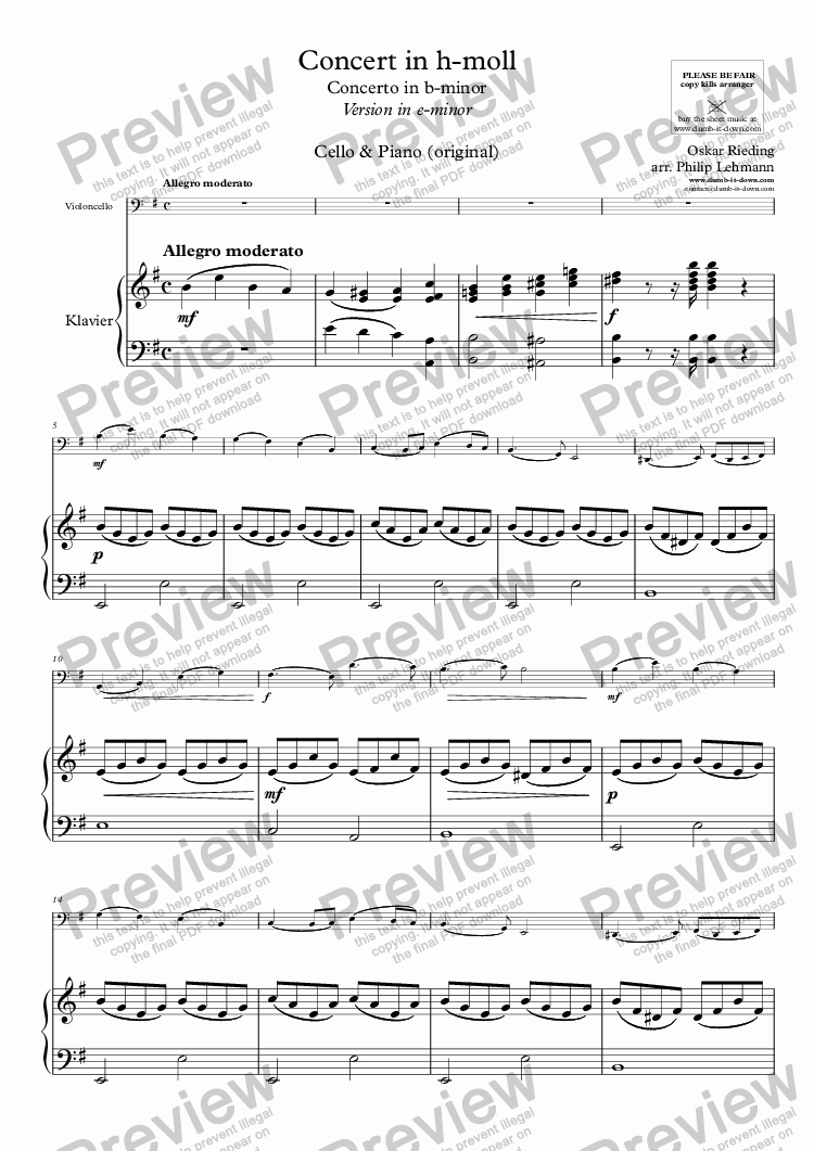 page one of Rieding, O. - Op.35, Concerto in b-minor - Vers. in e-minor for Cello & Piano (orig.)