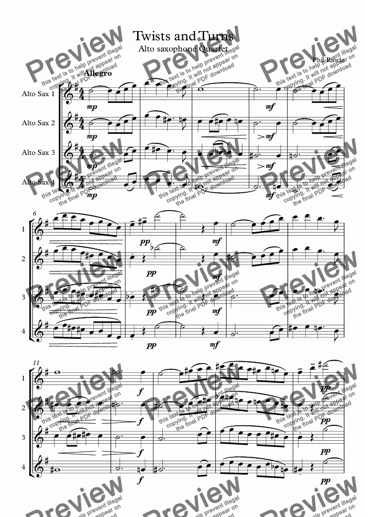 page one of Twists and Turns - Alto Sax Quartet