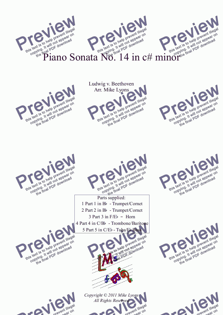 Brass Quintet - Beethoven - Piano Sonata No  14 in c# minor (Moonlight) for  Brass quintet by Ludwig v  Beethoven - Sheet Music PDF file to download