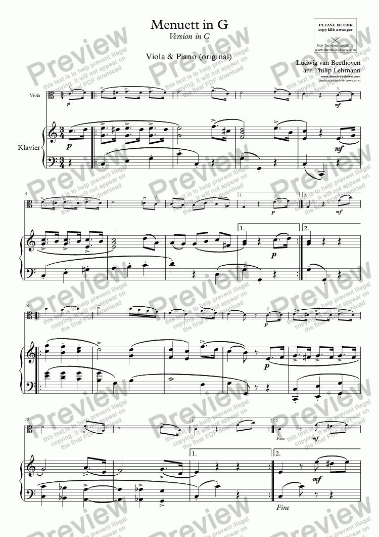 page one of Beethoven, L.v. - Menuett in G - for Viola & Piano (orig.)