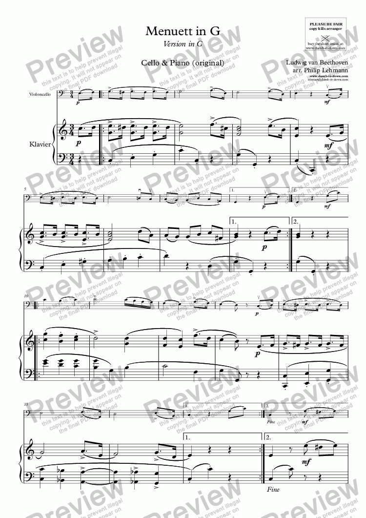 page one of Beethoven, L.v. - Menuett in G - for Cello & Piano (orig.)