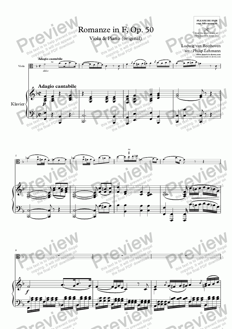 page one of Beethoven, L.v. - Romanze in F, Op. 50 - for Viola & Piano (orig.)
