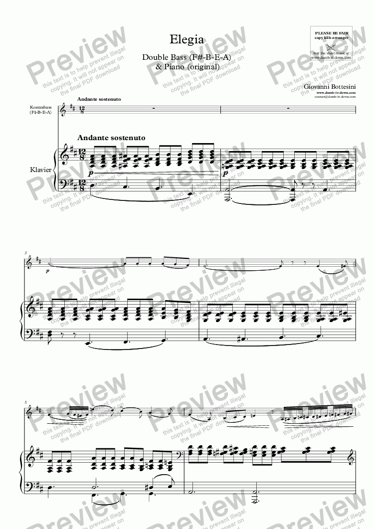page one of Bottesini, G. - Elegie - for Double Bass & Piano (orig.) - vers. in D-major (F♯–B–E–A) & in C-major (E-A-D-G)