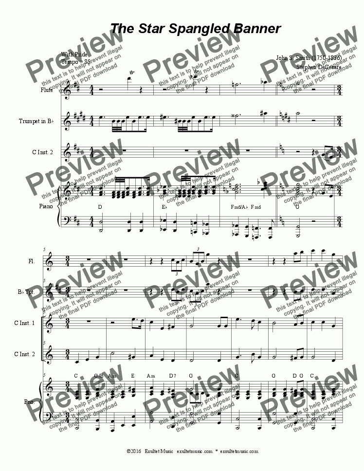 page one of The Star Spangled Banner (Duet for C-Instruments)