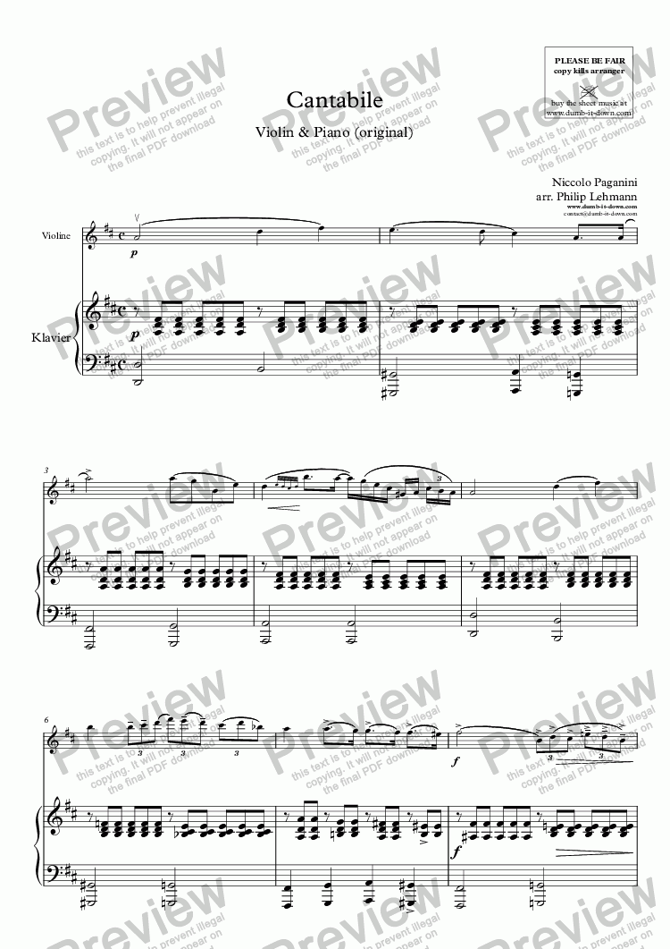page one of Paganini, N. - Cantabile - for Violin & Piano (orig.)