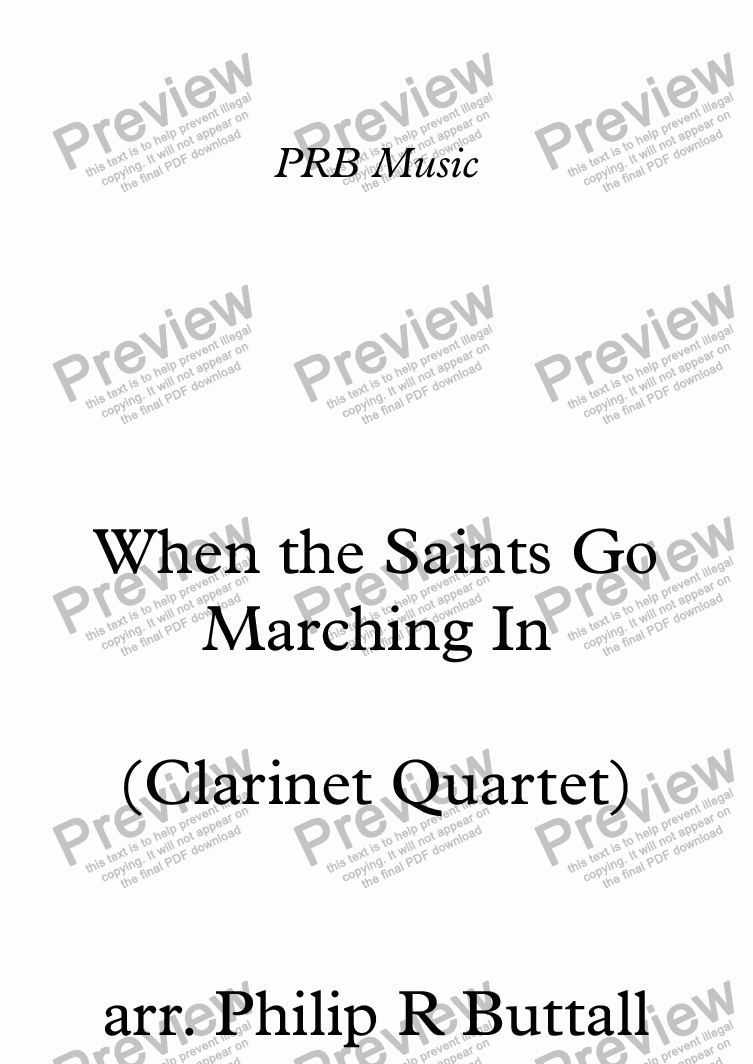 page one of When the Saints Go Marching In (Clarinet Quartet)