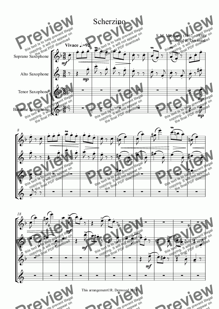 page one of Maykapar - Scherzino for Saxophone Quartet (SATB)