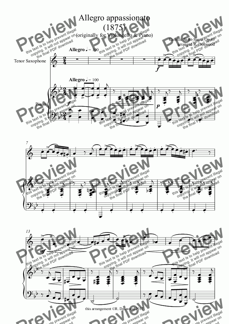 page one of Saint-Saens - Allegro appassionato Op.43 (1875) for Tenor Saxophone & Piano