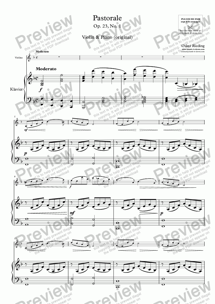 page one of Rieding, O. - Op.23 No.1, Pastorale - for Violin & Piano (orig.)