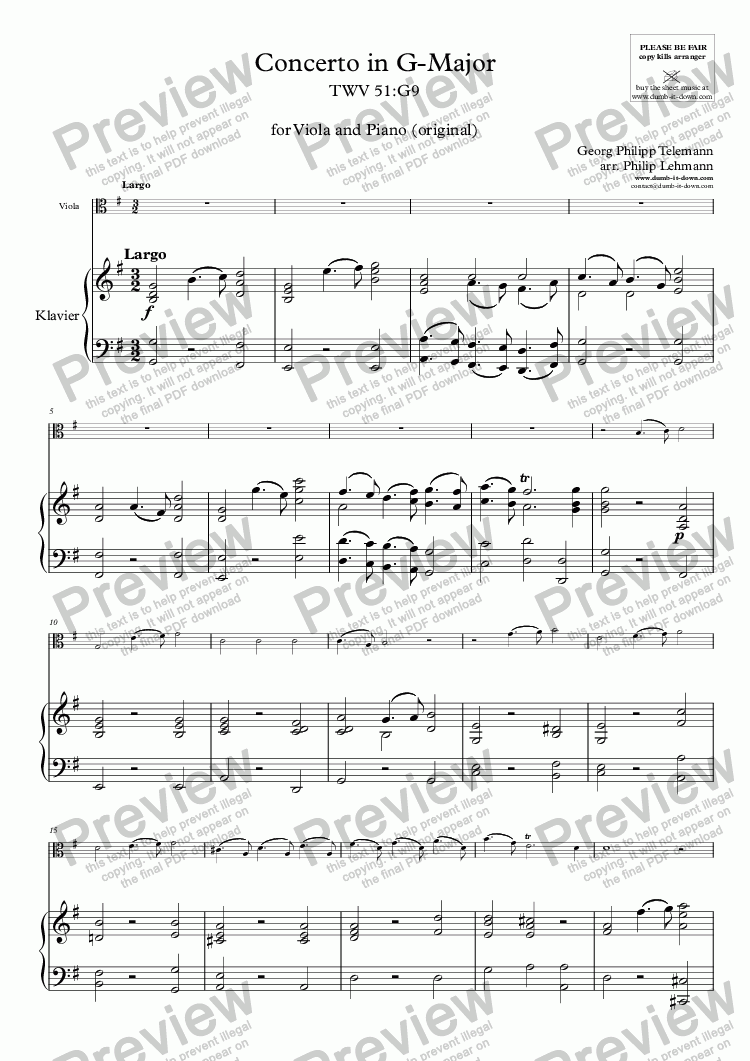 page one of Telemann, G.P. - Concerto in G, TWV 51:G9 - for Viola & Piano (orig.)