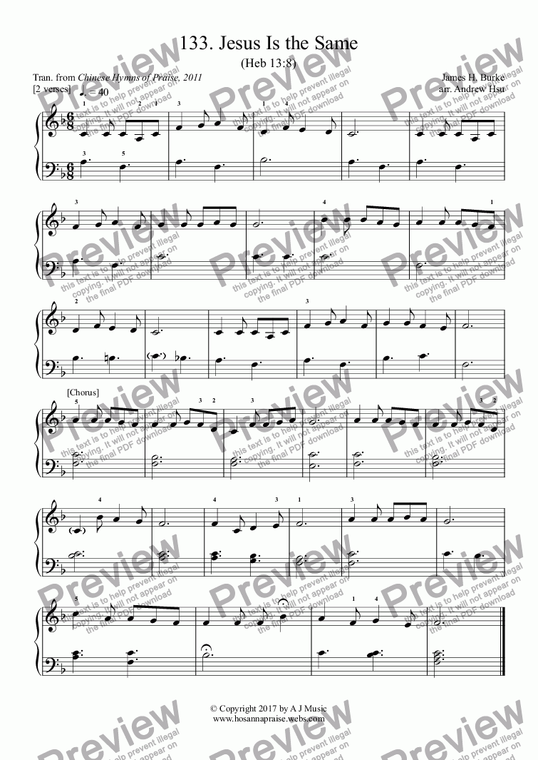 page one of Jesus Is the Same - Really Easy Piano 133