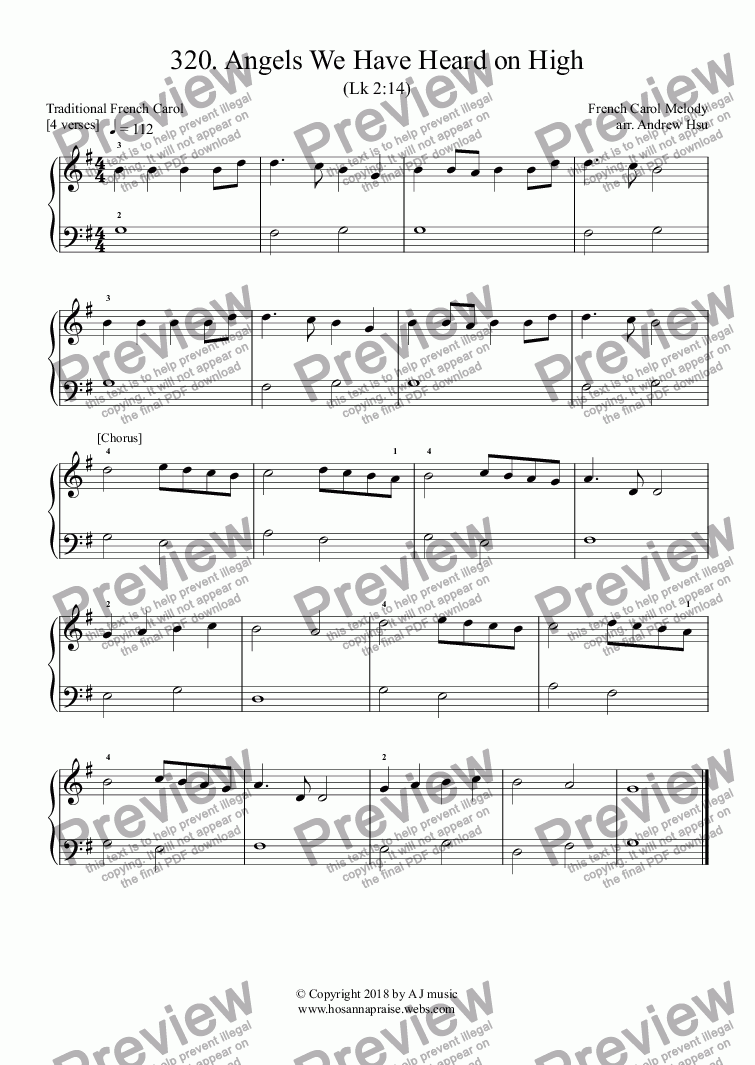 page one of Angels We Have Heard on High - Really Easy Piano 320